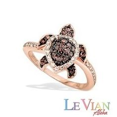 Rose Gold Le Vian Aloha Collection Turtle Ring With White And Chocolate Diamonds New