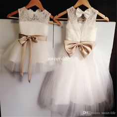 Custom Made Lace Flower Girl Dresses Jewel Neck Sash Bow Floor Length Tutu 2016 Little Baby Gowns for Wedding Party First Communion Dresses Online with $51.42/Piece on Sweet-life's Store | DHgate.com
