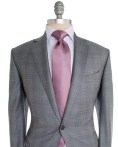 Ermenegildo Zegna   Light Grey with Pale Grey Plaid Suit   Apparel   Men's