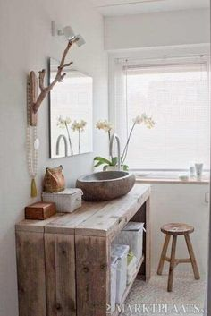 Solid Beam Vanity Basin Unit Wash Stand Bathroom Rustic Belfast Butler sink in Home, Furniture & DIY, Bath, Sinks Diy Bathroom Vanity, Bathroom Ideas, Bathroom Storage, Small Bathroom, Diy Vanity, Master Bathroom, Pallet Bathroom, Bathroom Modern, Basement Bathroom