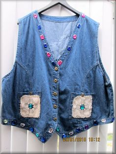 Upcycled Denim ladies Vest Embellished with by KraftytKiwiKorner