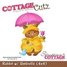 Cottage Cutz-Easter Series-4x4 Die-Rabbit w/Umbrella