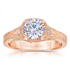 True Romance Style # RM1316 -  Round Cut Diamond Vintage Style Engagement Ring