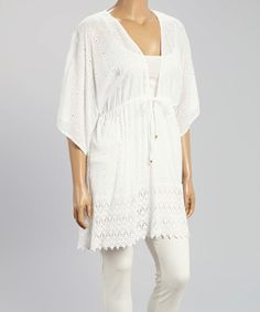 Look what I found on #zulily! White Eyelet V-Neck Tunic - Plus #zulilyfinds
