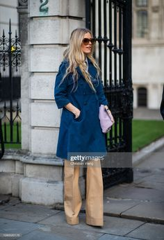 Laura Bailey, London Fashion Week Mens, Blue Coats, Flare Pants, Wide Leg Jeans, Bell Bottoms, The Outsiders, Women Wear, Shirt Dress