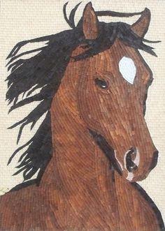 """Rowdy"", Horse Glass Mosaic and Micro Mosaic art | lizawheeler - Mosaics on ArtFire"