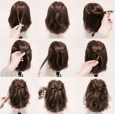 I'm going to try this with my hair even though my hair is down to the small of my back. Let's see how it looks when I curl it and tie it back.