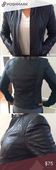 Trouve Leather Moto Jacket Leather motorcycle jacket with houndstooth wool plackets.  Nordstrom featured brand. Trouve Jackets & Coats Utility Jackets