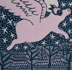Flying Pig - Linocut £35.00