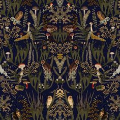 Swedish Forest Wonderful dark forest-themed pattern with mushroom, ferns and owls.Wonderful dark forest-themed pattern with mushroom, ferns and owls. Forest Wallpaper, Dark Wallpaper, Home Wallpaper, Swedish Wallpaper, Funky Wallpaper, Temporary Wallpaper, Modern Wallpaper, Wallpaper Ideas, Mushroom Wallpaper