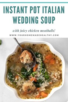 Instant pot Italian wedding soup is a warm and comforting soup for any occasion! It's quick, easy, and packed full of healthy ingredients. Serve it as a family dinner, quick and healthy lunch, or simple appetizer. Made with lots of vegetables, tender and juicy chicken meatballs, and clear chicken broth, this soup is as good for you as it is delicious! Store any extra in your freezer, and you'll be so happy to have a healing, healthy meal year round! Ground Chicken Recipes, Wedding Soup, Chicken Meatballs, Healthy Soup Recipes, Quick Easy Meals, Freezer, Appetizer, Instant Pot, Healing