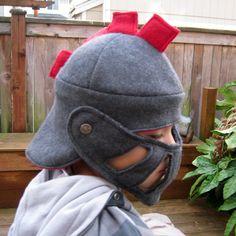 Alex really wants a helmet-- here's a soft felt/wool one!  Knight's Helmet - Charcoal Grey