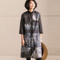 Printing Women Casual Retro Linen Dress