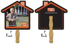 Real Estate Hand Fan - 9.625x8.5 House Shape