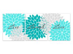 Home Decor Wall Art, Live Laugh Love, Aqua Wall Art, Flower Burst Bathroom Wall Decor, Aqua and Grey Bedroom Wall Art - HOME95