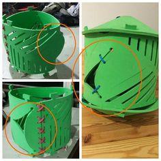 Objeto de guardado. Precintos que evitan la deformidad del cilindro ante los cortes realizados.