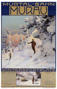 Murau Austria Snow Skiing Vintage Travel Poster by PaperTimeMachine, $6.99