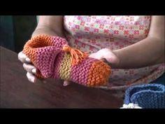 Pantuflas tejidas en dos agujas o palillos (parte 1)