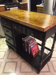 I repurposed a child's desk into a kitchen island! Love it!