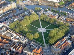 Aerial view of Queen Square, Bristol, England