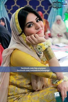 Pakistani actree Sanam Baloch. Mehndi outfit