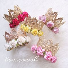 the Sienna  vintage gold lace crown headband with FLOWERS  choose ONE   firmest lace crowns on the market