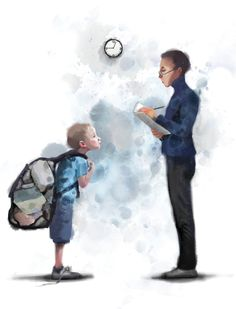 Anemerkninger- Illustrasjon i DB Magasinet Father Love Quotes, Fathers Love, Back To School Art, Art School, Satirical Illustrations, Man Illustration, I Love Reading, Funny Art, Satire