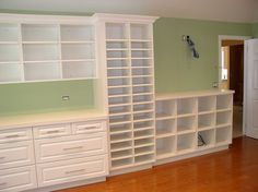 I NEED to find those small cubbie wall shelf units in my new large sewing room! Craft Room Storage, Craft Organization, Craft Rooms, Organizing, Bookcase Organization, Paper Storage, Office Storage, My Sewing Room, Sewing Rooms