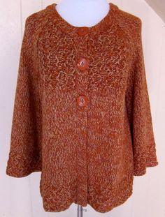 Dressbarn Women's XL Orange-Wheat Speckled Cardigan Long Sleeve Sweater #dressbarn #Cardigan