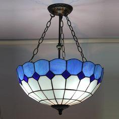 Sapphires On Silver Tiffany Flush Mount Lamp