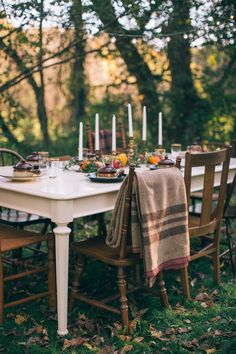 Fall styled outdoor dining table.