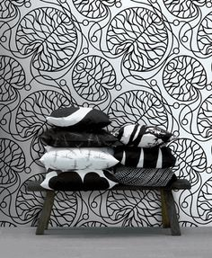 Shop Marimekko wallpaper in classic and contemporary prints & easy-to-install two-piece wall murals. Graphic Wallpaper, Modern Wallpaper, Black Wallpaper, Wall Wallpaper, Designer Wallpaper, Feature Wallpaper, Botanical Wallpaper, Marimekko Wallpaper, Marimekko Fabric