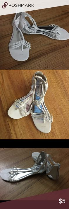 Jennifer Lopez sandals J Lo white wrap around ankle sandals. Sandals zip in back of heel Jennifer Lopez Shoes Sandals