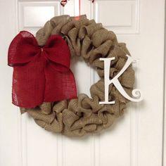 Burlap wreath with bow and monogram- valentines wreath?