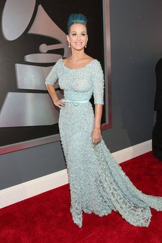 Katy Perry in Elie Saab spring 2012 couture.  Love it, minus the blue hair.