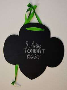 Custom Trefoil Girl Scouts Hanging Chalkboard with Ribbon & Chalk - Girl Scout Leader Gift