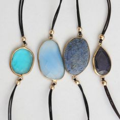 Blue Candy Jewelry Gemstones on leather bracelets are organic and so fun layered in bunches.