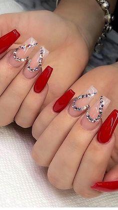 Valentine's Day Nail Designs, Winter Nail Designs, Simple Nail Designs, Acrylic Nail Designs, Nails Design, Blog Designs, Nail Art Saint-valentin, Stiletto Nail Art, Glitter Nail Art