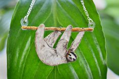 Sloth Hanging from a Branch Necklace