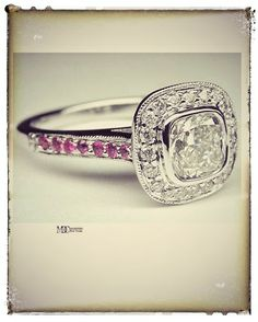 Cushion Cut Diamond Cathedral Halo Engagement Ring with Diamonds & Pink Sapphires In 14K White Gold #PinkLove