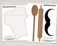 """Chef Photo Booth Props    Mother Duck Said: """"Lets Party!"""": Master Chef Photo Booth Props / Cooking Party Photo Booth Props"""