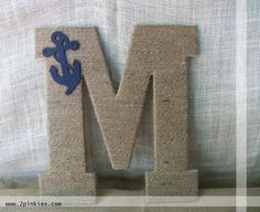 Twine Monogram Letter Wreath - Nautical Twine Letter, Anchor