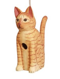 "Orange Tabby Cat Birdhouse Orange Tabby Wooden Birdhouse is houses your feathered friends in the most clever style! Hand carved and painted, uncommon birdhouse is totally functional with 1.25"" entranc"