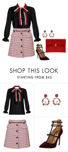"""""""Sem título #2254"""" by mprocedi ❤ liked on Polyvore featuring Gucci, Topshop, Sam Edelman and Alexander McQueen"""