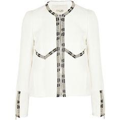 Maje Exotisme embroidered cotton-blend cloqué jacket (€305) via Polyvore featuring outerwear, jackets, maje, white, smart, zipper jacket, maje jacket, white zipper jacket, embroidered jacket e zip jacket