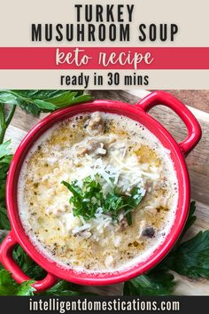 Hearty and filling Creamy Turkey and Mushroom Soup ready in under one hour plus it is a Keto recipe. This soup is easy to adjust and tweak for your own flavor preferences. Changes could affect the carb count. If you are not counting carbs, sub cubed potatoes for the cauliflower. #souprecipe #lowcarb Entree Recipes, Pork Recipes, Crockpot Recipes, Keto Recipes, Dinner Recipes, My Favorite Food, Favorite Recipes, Mushroom Soup Recipes, Counting Carbs