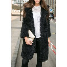 Yoins Black Fluffy Longline Coat (52 BGN) ❤ liked on Polyvore featuring outerwear, coats, black, coats & jackets, fake fur coats, faux fur coats, longline coat, long coat and long faux fur coat