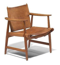 Børge Mogensen; Oak and Leather 'Hunting Lodge' Armchair for Erhard Rasmussen, 1950s.