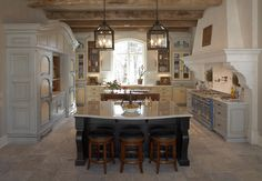 Stove: La Cornue, model: Château 120 The large armoire is a fridge and freezer built-in. Designed by Hendel Homes. Kitchen Lighting Design, Kitchen Island Lighting, Kitchen Lighting Fixtures, Kitchen Islands, Rustic Light Fixtures, Rustic Lighting, Lighting Ideas, Pendant Lighting, Lantern Lighting