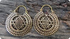 Sri Yantra Sacred Geometry Earrings Brass Earrings by CuraWay